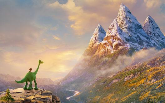 Обои Динозавр Арло и мальчик Дружок из мультфильма Хороший динозавр / The Good Dinosaur