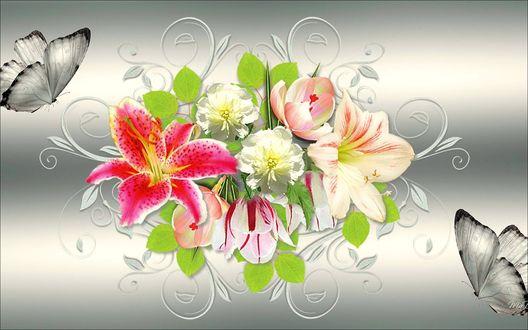 Обои Букет цветов и две серые бабочки, на сером, светло-сером фоне
