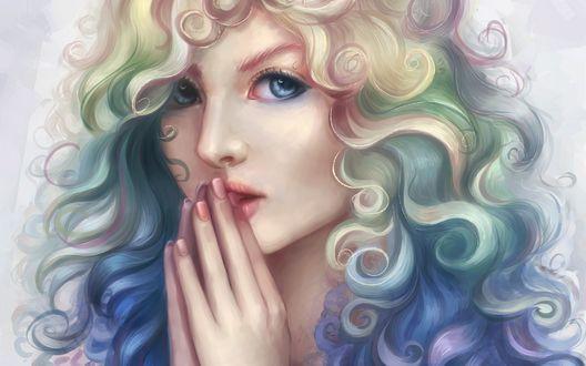 Обои Девушка с разноцветными, кучерявыми волосами, by Marfyta