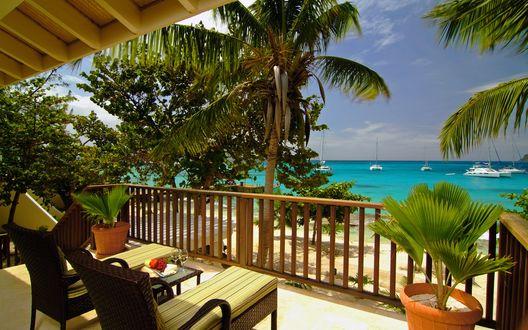 Обои Терраса с видом на океан с пальмами и уютными столиками