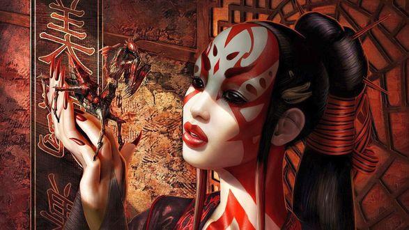 Обои Японская девушка с богомолом в руке, боди арт, на фоне декоративных панелей с иероглифами