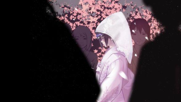 Обои Hinata Hyuga / Хината Хьюга в свадебном наряде из аниме Наруто / Naruto
