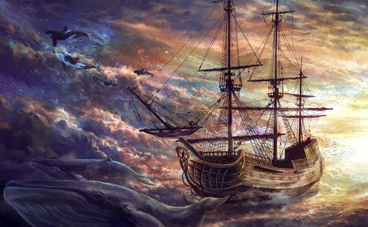 Обои Корабль на воде и парящие в небе дельфины, by Edwardch93