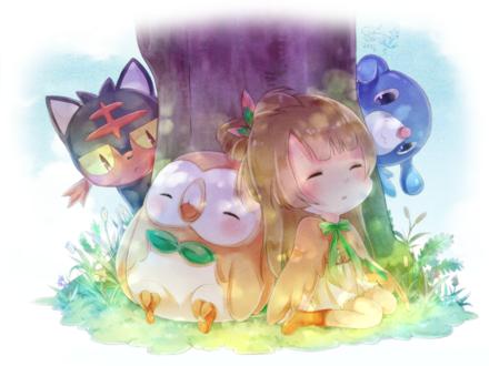 Обои Девочка и птичка спят прислонившись к дереву, за ними наблюдают котенок и щенок, by 猫御子(ネコミコ)@仕事募集中