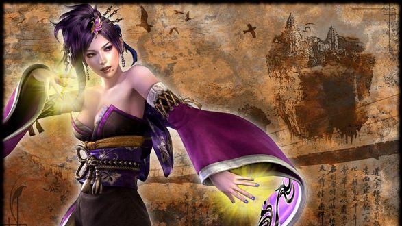 Обои Девушка чародейка в боевой стойке, игра Fantasy Witch, на фоне замка, иероглифов