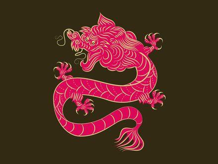 Обои Стилизованный рисунок китайского красного дракона, на буро-зеленом фоне