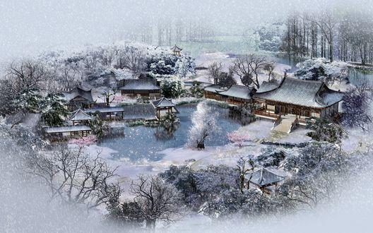 Обои Японская традиционная усадьба с прудом зимой, под падающим снегом