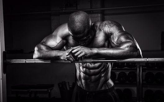Обои Татуированный мужчина спортивного телосложения с оголенным торсом стоит, опершись на перекладину в спортивном зале