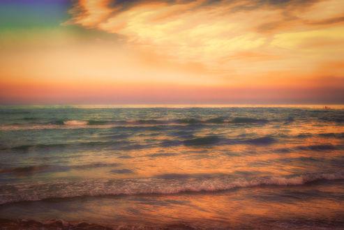 Обои Розовый рассвет над морем, фотограф glbN