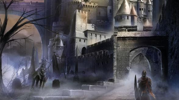 Обои Рыцарь стоит перед воротами в замок-крепость, рядом заброшенное кладбище