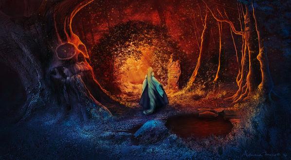 Обои Девушка стоит перед каменной смертью, которая держит свиток с предостерегающей надписью, в фантастическом лесу, by adrianamusettidavila