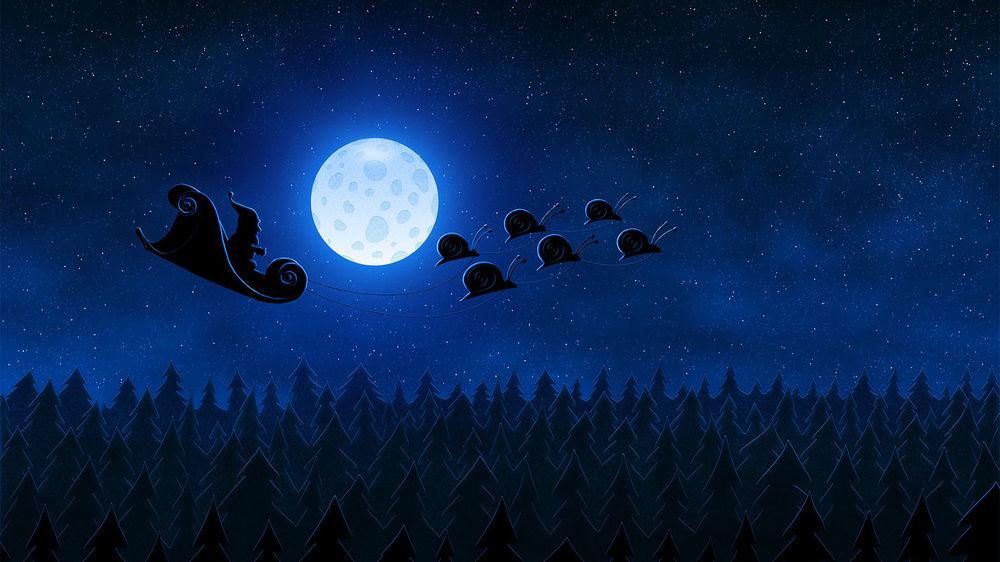 Обои для рабочего стола Дед мороз летит под луной в санях с улитками, над ночным лесом