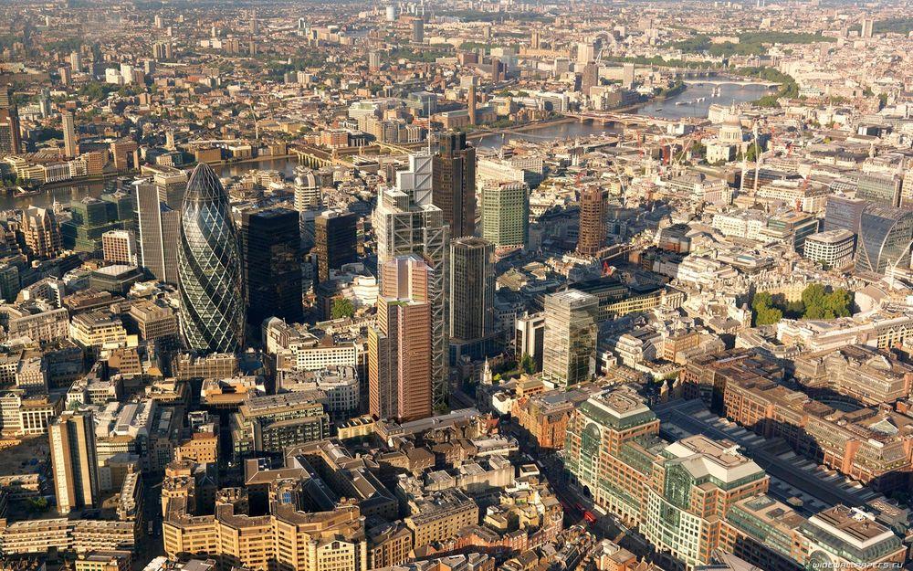 Обои для рабочего стола Панорама центра Лондона с высоты