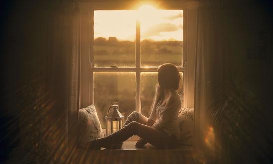 Обои Девушка сидит у окна