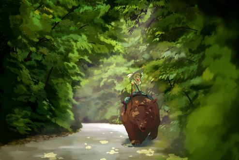 Обои Девушка верхом на медведи едет по лесной дороге