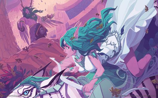 Обои Тиранда Шелест Ветра верхом на тигре смотрит на Малфуриона Ярость Бури / арт на игру World of Warcraft