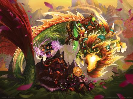 Обои Битва двух девушек на драконах / арт на игру World of Warcraft