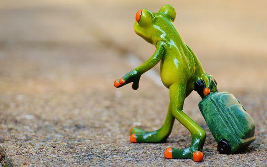 Обои Фигурка лягушки с чемоданом стоит на асфальте