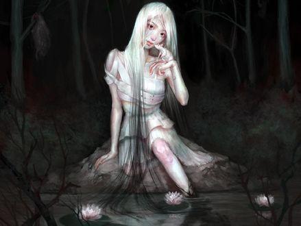 Обои Девушка сидит у воды с крыской на руке, by Angela He