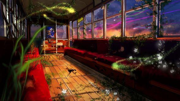 Обои Заброшенный вагон поезда заросший растениями, на заднем плане сидит девочка