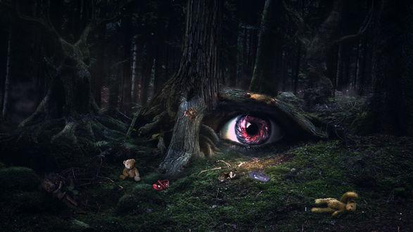 Обои Жуткий лес с деревом, в корнях которого огромный глаз, вокруг лежат человеческие кости и старые игрушки, by hankep