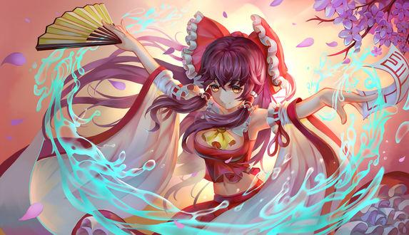 Обои Reimu Hakurei / Рейму Хакурей использует магию, на фоне цветущей сакуры, из игры Проект Восток / Тохо / Touhou Project