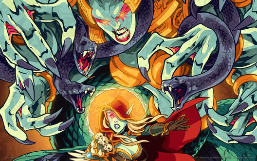 Обои Леди Вайш атакует Леди Сильвану Ветрокрылую / арт из игры World of Warcraft