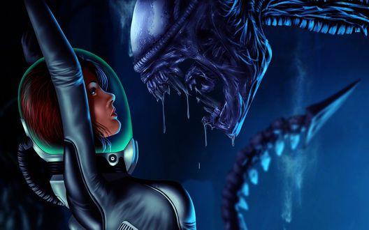 Обои Эллен Рипли - главная героиня серии фильмов про Чужих, стоит в скафандре против монстра Чужого