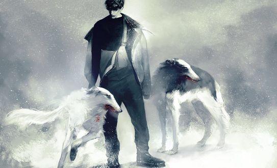 Обои Парень с собаками, Kajiri Kamui Kagura, визуальная новелла