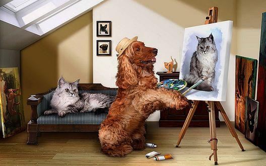 Обои В художественной мастерской знаменитый пес - художник в соломенной шляпке с вдохновением рисует портрет красавца серого кота лежащего на диване
