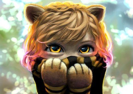 Обои Девочка в образе тигренка держит лапки перед лицом, Dora the Explorer, иллюстратор Cassio Yoshiyaki