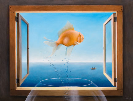 Обои Рыба над бокалом в окне на фоне моря, by justindmiller