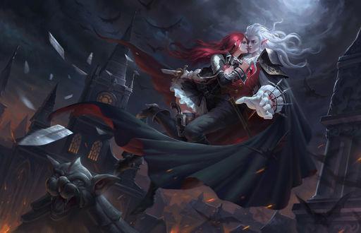 Обои Вампир и красноволосая девушка парят в воздухе среди башен замка в ночь полнолуния