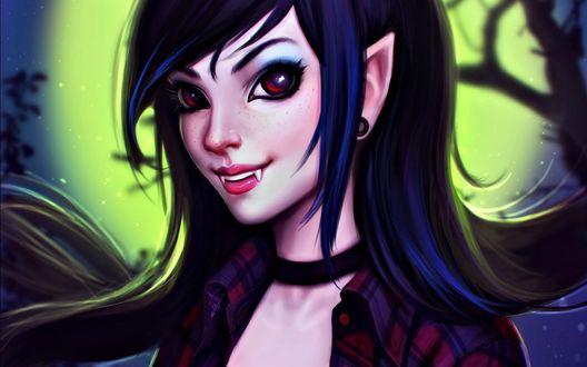 Обои Девушка вампир с черными волосами коричневыми глазами