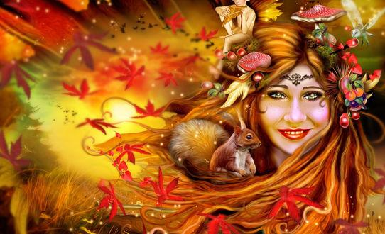 Обои Девушка эльф с рыжими волосами, в которых красные мухоморы, орехи, ягоды, осенние листья и рыжая белка