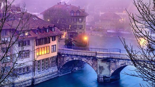 Обои Старинный мост в Берне, Швейцария