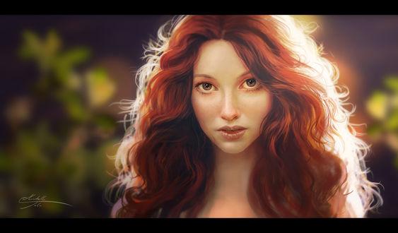 Обои Портрет девушки с каштановыми волосами, by Manweri
