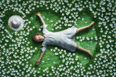 Обои Девочка лежит на поляне с ромашками, фотограф John Wilhelm