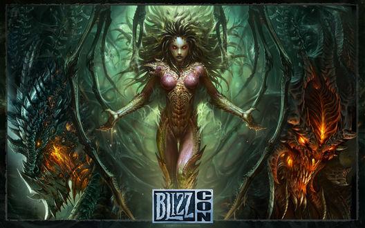 Обои Смертокрыл, Керриган, Дьябло / арт на персонажей игр компании BLIZZARD ENTERTAINMENT