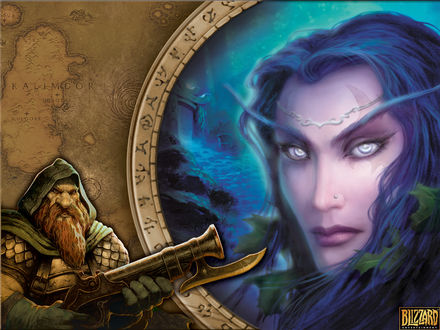 Обои Тиранда Шелест Ветра и дворф с оружием / арт на игру World of Wacraft