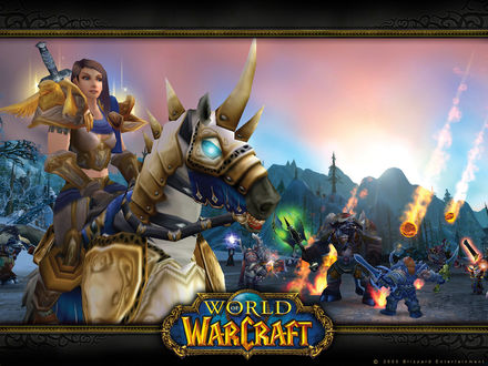 Обои Девушка паладин верхом на боевом коне на фоне битвы в Долине Альтерак / арт на игру World of Wacraft