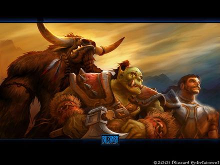 Обои Таурен, орк и человек / арт на игру World of Wacraft