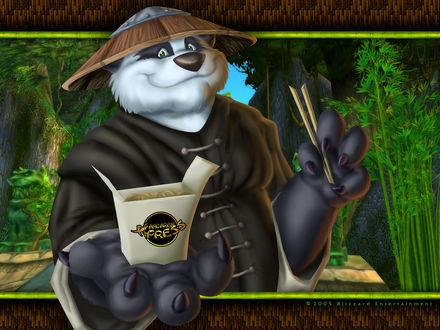 Обои Пандарен протягивает руку с коробкой лапши / арт на игру World of Wacraft