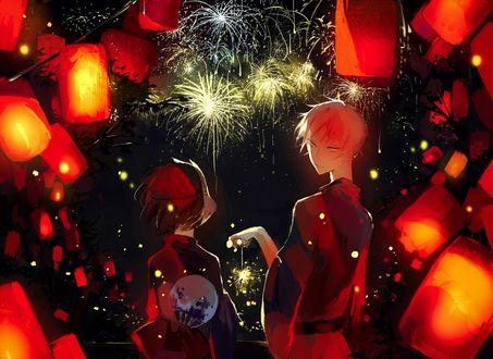 Обои Gin / Гин и Hotaru / Хотару на празднике фейерверков из аниме В лесу мерцание светлячков / Hotarubi no Mori e, art by Yi Chuan