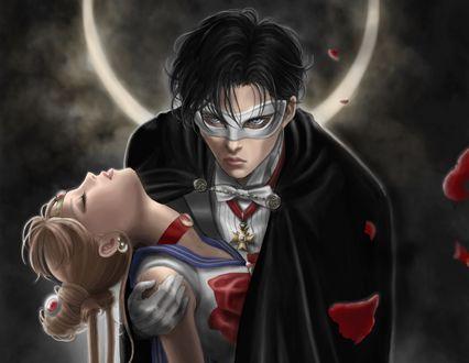 Обои Usagi Tsukino / Усаги Цукино / Сейлор Мун / Seilor Moon и Chiba Mamoru / Чиба Мамору из аниме Bishoujo Senshi Sailor Moon / Красавица-воин Сейлор Мун
