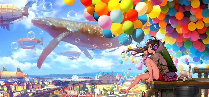 Обои Девушка пускает мыльные пузыри, сидя на крыше дома, рядом лежит белая кошка, в небе парят киты, летают дирижабль и воздушные шарики, by neko