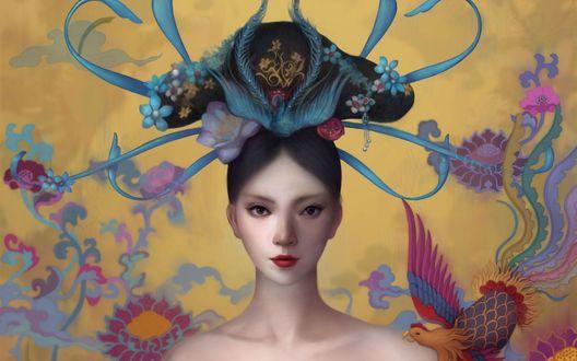 Обои Темноволосая девушка с цветами и заколкой на волосах в виде птицы