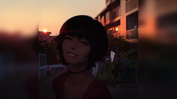 Обои Портрет по фотографии мыло улыбающейся девушки, стоящей на улице у дома, на фоне заката, художник Илья Кувшинов