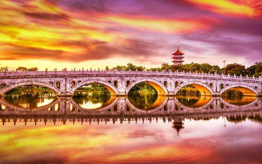 Обои Красивый каменный мост через озеро, ведущий из Японского в Китайский сад, с виднеющейся пагодой вдали с красными крышами в Сингапуре