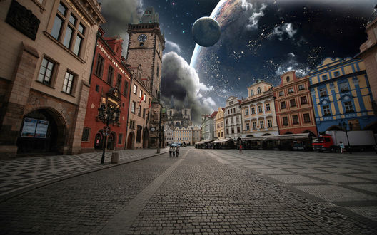 Обои Городская мощеная улица, в небе, над домами видны планеты в стиле фэнтези, фотограф Марьян Вучич
